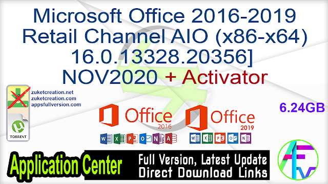 Microsoft Office 2016-2019 Retail Channel AIO (x86-x64) 16.0.13328.20356] NOV2020 + Activator