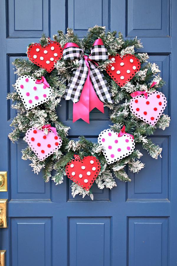 Valentine's Day Front Door Decorations, Dollar Tree heart crafts, valentine's day heart wreath