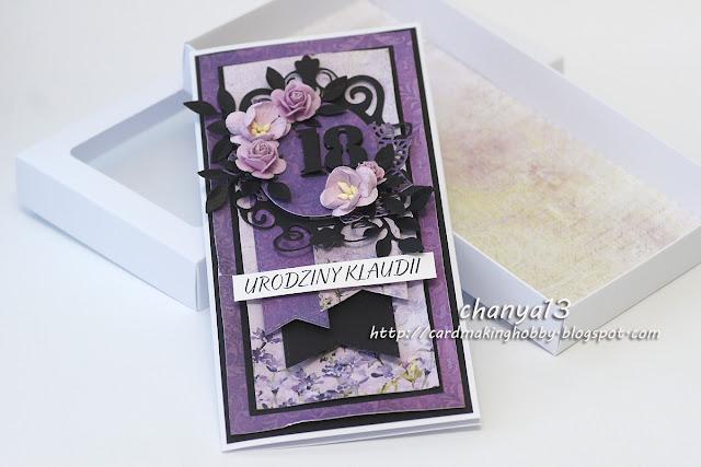 432. Fioletowo-czarna kartka urodzinowa w rozmiarze DL