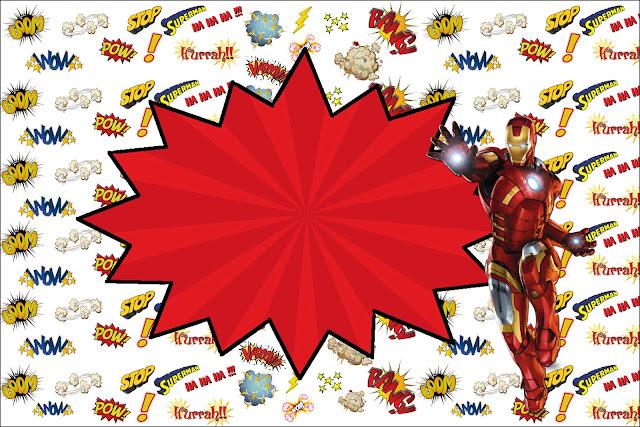 Homem De Ferro Kit Completo Com Molduras Para Convites Rótulos