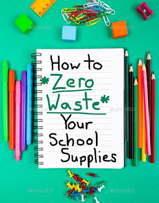 green background with various colorful school supplies such as pencils, rulers, and paperclips, words say How to Zero Waste Your School Supplies across the middle