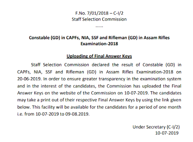 Constable (GD) in CAPFs, NIA, SSF and Rifleman (GD) in Assam Rifles Examination