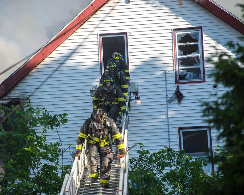 Fire at 15-17 Sherman Street in Portland, Maine USA. June 14, 2016. Photo by Corey Templeton.