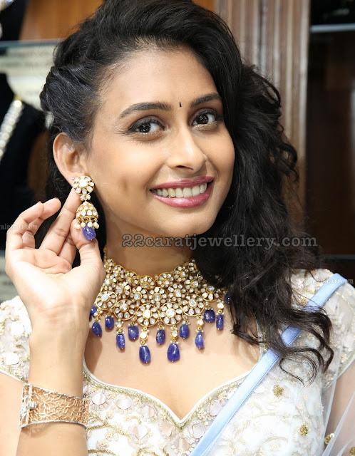 Nithya Suresh Polki Choker with Sapphire Drops