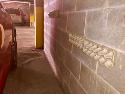 egg cartons pressed onto cinder block garage wall