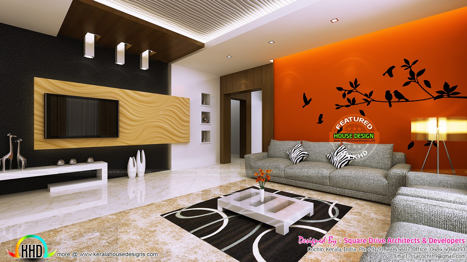 Living room ladies sitting and bedroom interiors kerala for Interior decoration living room roof