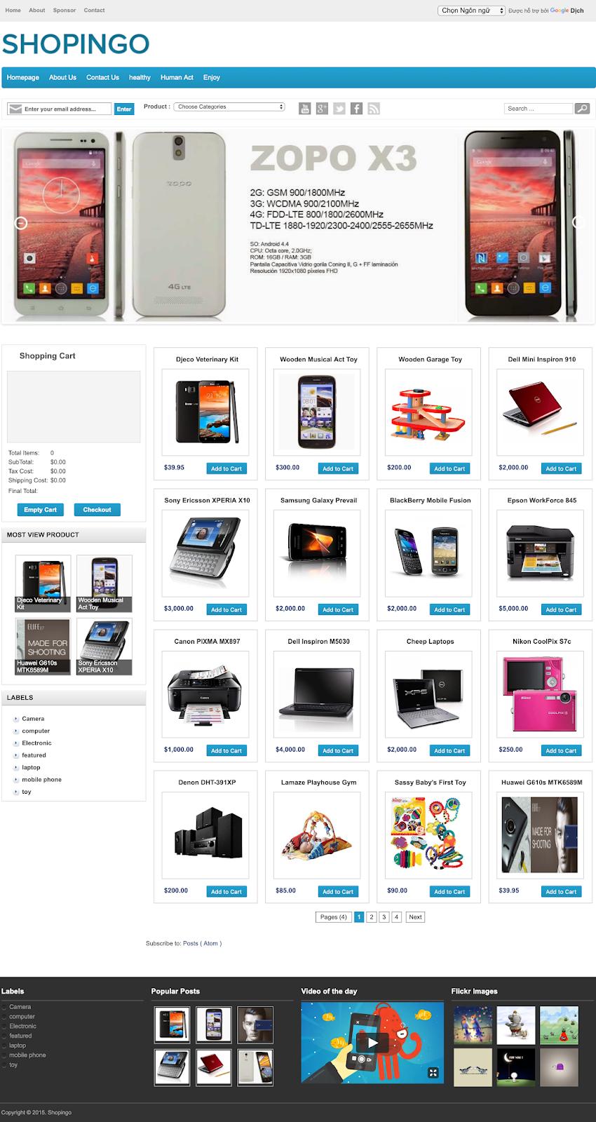 Template bán hàng Shopingo blogspot