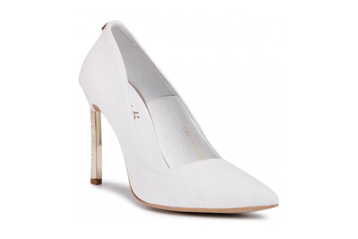 Pantofi cu toc inalt albi de zi eleganti din piele naturala ieftini R.POLAŃSKI
