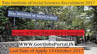 Tata Institute of Social Sciences Recruitment 2017- Data Entry Operator