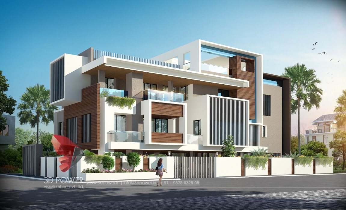 Residential towers row houses township designs villa for Contemporary building elevation