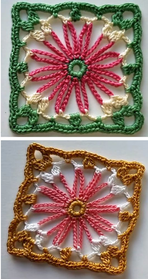 How to crochet flower square - Tutorial