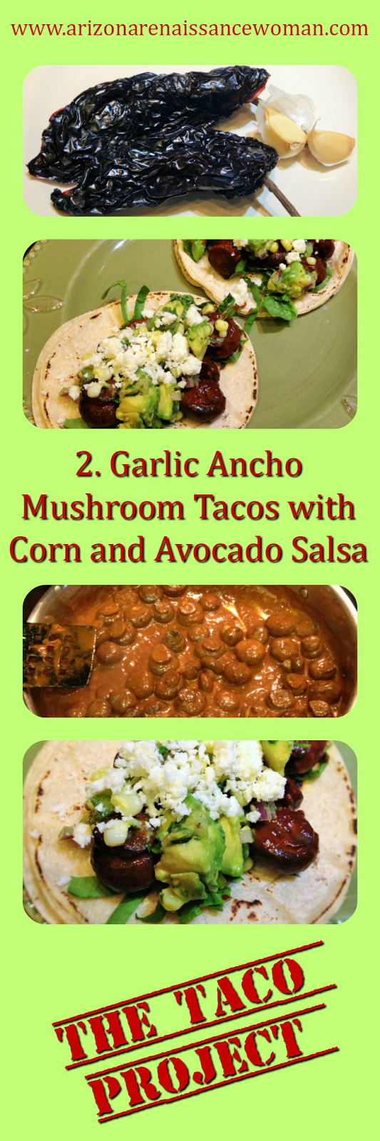 Garlic Ancho Mushroom Tacos with Corn and Avocado Salsa Collage
