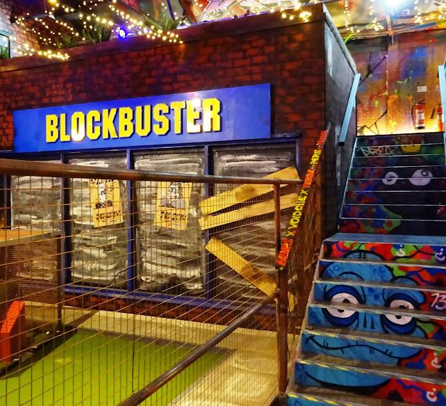 Blockbuster Video shop at Ghetto Golf in Digbeth, Birmingham. November 2017