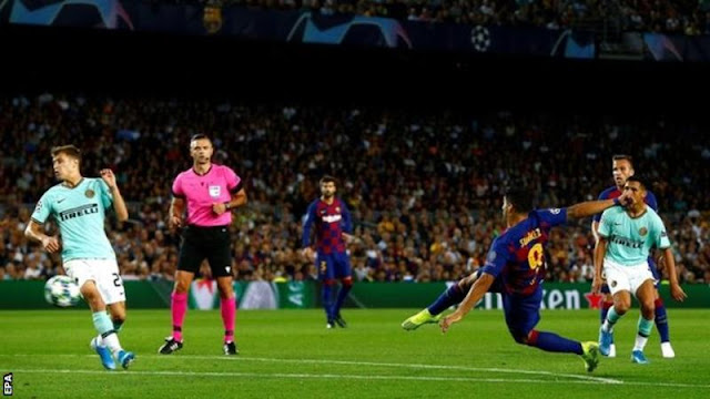 Champions League: Luis Suarez scores twice as Barcelona beat Inter Milan