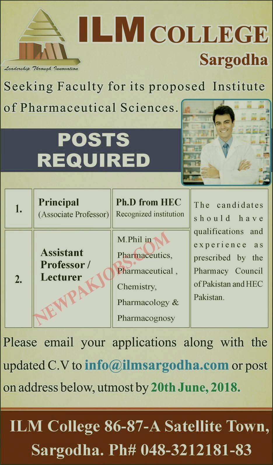 Latest Jobs in ILM College Sargodha Apply Through Email