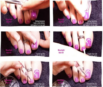 Purple Flower Pedicure – Toe Nail Art Tutorial using Stickers