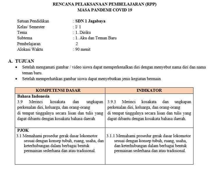 Contoh Rpp Masa Pandemi Covid 19 Kelas 1 Sd Mi Tema Diriku Aku Dan Teman Baru Inspirasi Indonesia