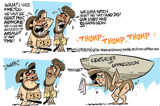First three images:  Two cavemen, commiserating:  One says,