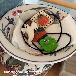 dish of halloween pins