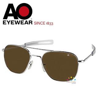 AO Military Original Pilot Aviator Sunglasses (55mm Silver, Cosmetan® Brown)