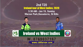 WI vs IRE T20 2nd T20