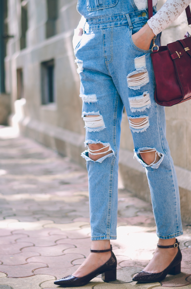 Ripped Denim Overalls and Burgundy Block Heels