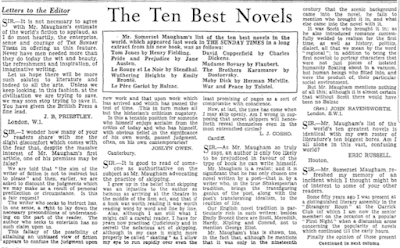 Letters to the Editor - The Sunday Times 10 Best Novels