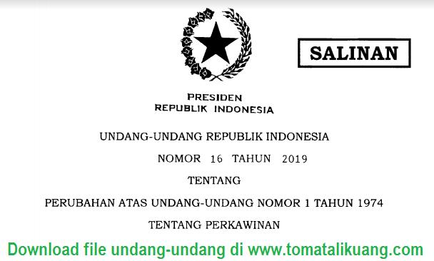 usia minimal perkawinan; uu nomor 16 athun 2019; tomatalikuang.com
