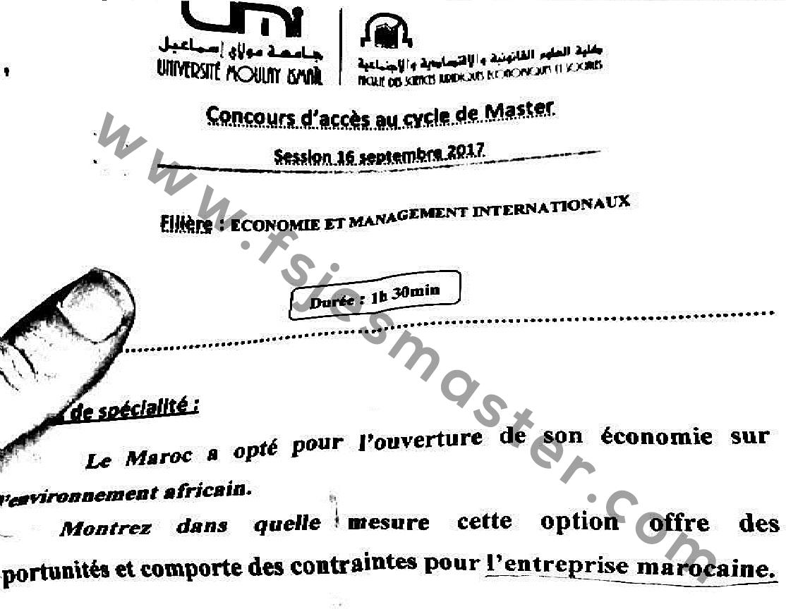 Exemple Concours Master Economie et Management Internationaux 2017-2018 - Fsjes Meknès