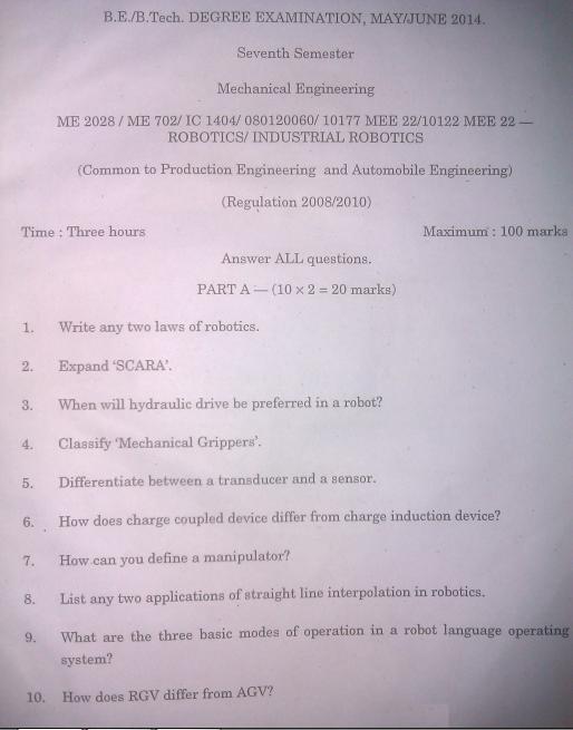 Me2028 Robotics Anna University Be Mechanical May June 2014 Question