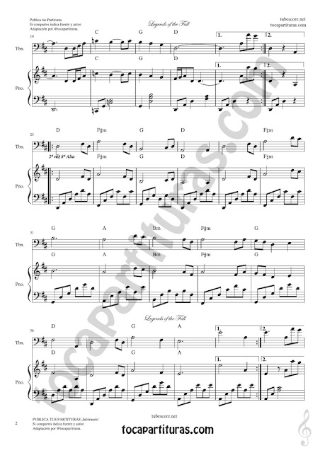 2  Leyendas de Pasión Partitura de Trombón y Bombardino en Clave de Fa Legends of the Fall Sheet Music for Trombone and Euphonium Bass Clef