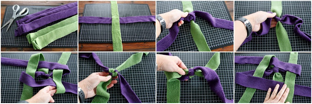 Step-by-step instructions for a stick end fleece dog tug toy weaving from a middle knot