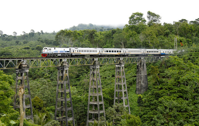 Kereta api melintas di atas rel di wilayah Mrawan, Banyuwangi.