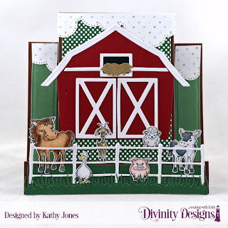 Stamp/Die Duos: Farm Friends   Paper Collections: Boho Bolds, Christmas 2017, Baby Boy   Custom Dies: Barn, Farm Fence, Grass Lawn, Center Step Card, Center Step Layers