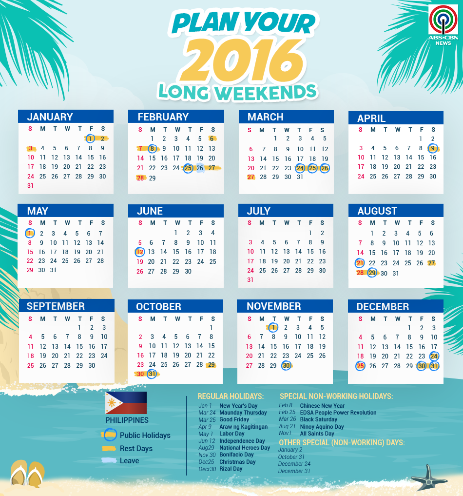 2016 holidays long weekend