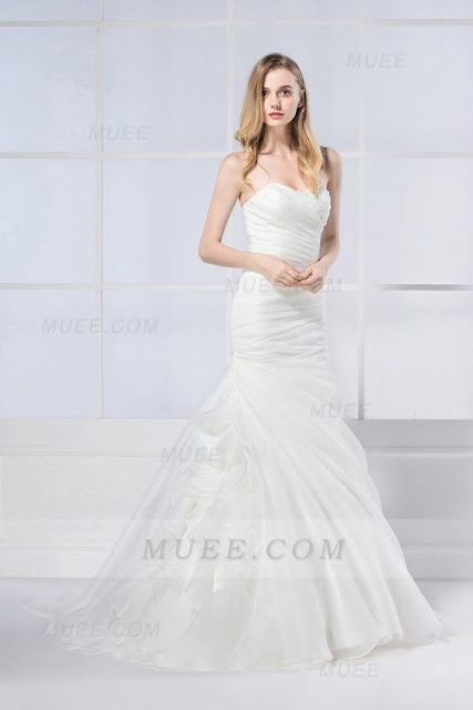 Chic Modern Cascading Ruffles Strapless Mermaid Long Ivory Organza
