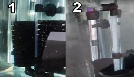 Attach filter to aquarium glass & test it