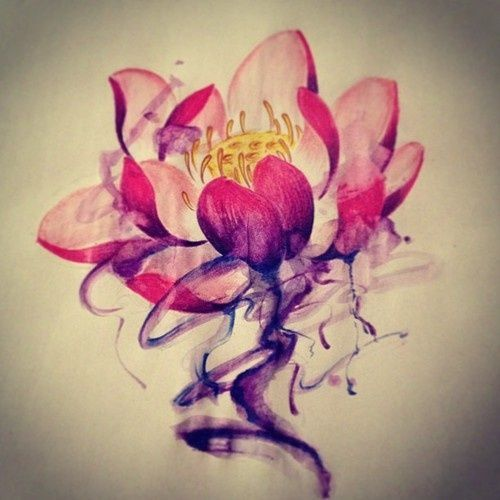 Watercolor Colorful Lotus Flower Tattoo Designs