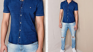 Denim shirt with jeans, Short sleeve shirt