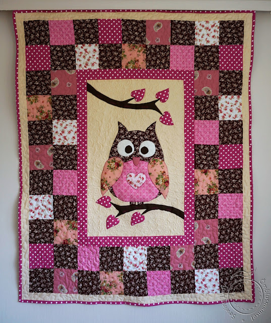 owl quilt, pink quilt for girls, kids patchwork blanket