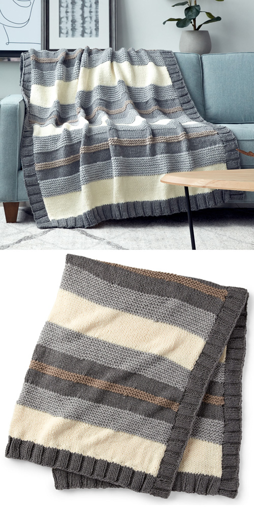 Simple Stripe Knit Blanket - Free Pattern