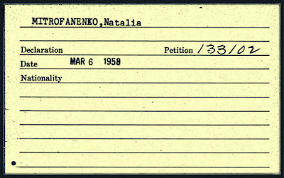 Receipt for Natalie Vasilev's Declaration of Intention, filed under her birth surname, Mitrofanenko.