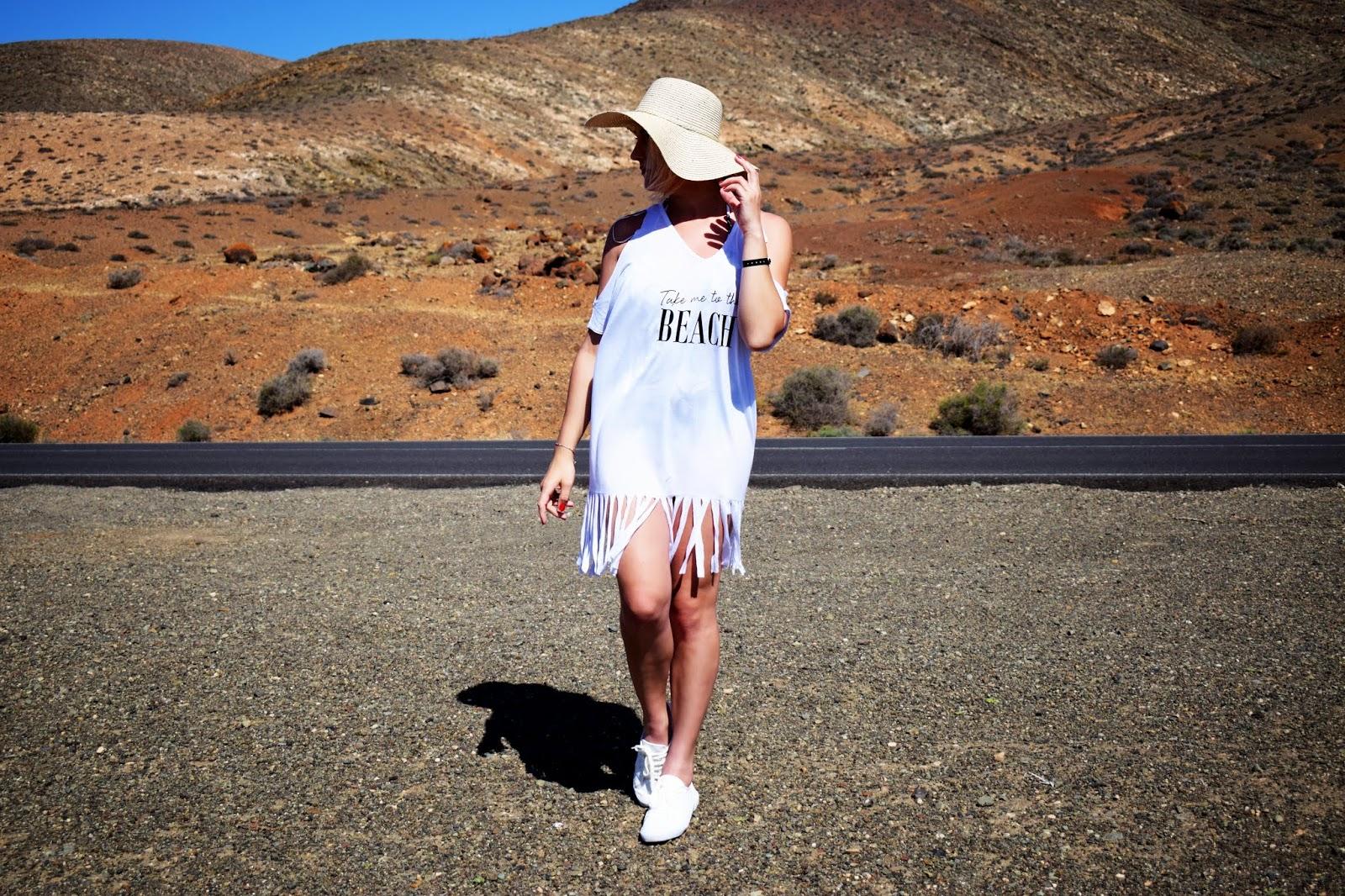 Shirt plażowy z frędzlami Bonprix