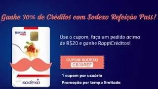 Promoção Sodexo e Rappi Cashback Dinheiro de Volta - Ganhe 30% de Créditos