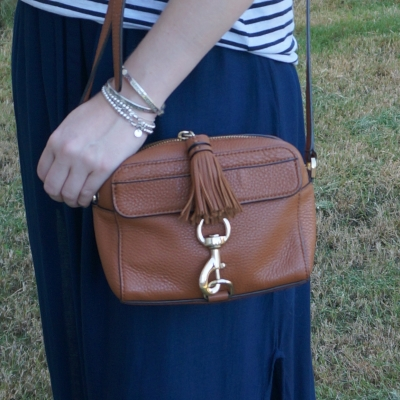 Rebecca Minkoff MAB Camera Bag in almond with navy maxi skirt striped tank | away from the blue