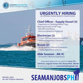 SEAMAN jobs hiring looking Filipino seaman for the following crew on Offshore Vessels joining Januar 2019.