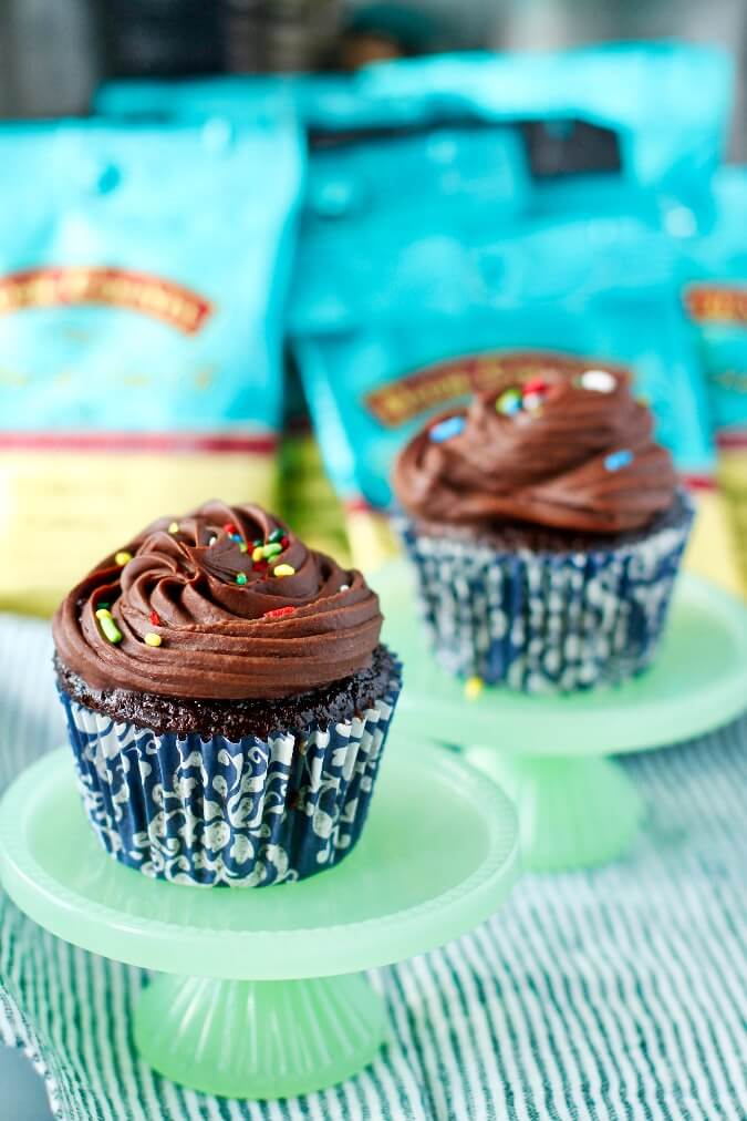 Chocolate Whiskey Cupcakes with coffee