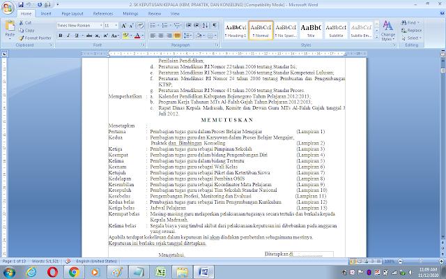 SK pembagian tugas mengajar (KBM, Praktek dan Konseling) lengkap