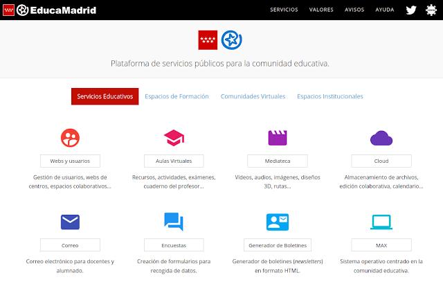 Página principal de EducaMadrid, la Plataforma Tecnológica Educativa de la Comunidad de Madrid