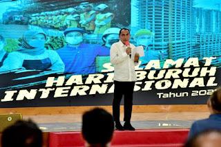 Peringatan Hari Buruh, Gubernur Sumut : Saya Ingin Setiap Gerakan Ada Gunanya